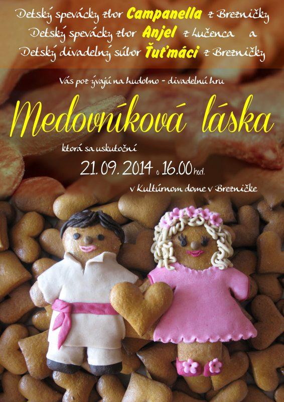 """pozvánka na divadelné predstavenie """"Medovníková láska"""""""