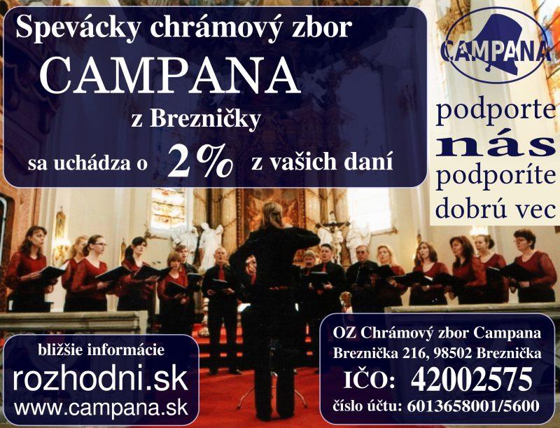 Venujte Vaše dve percentá pre Chrámový zbor Campana